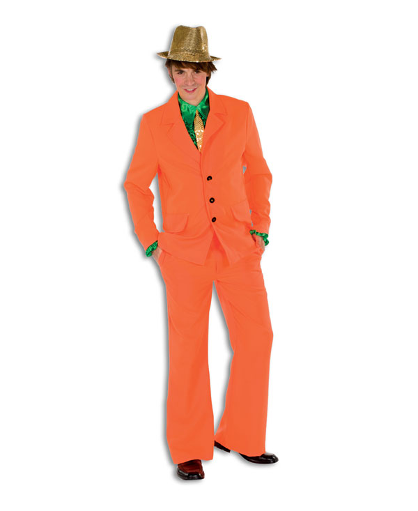 disco suit neon orange 80er years blockbusters outfit mens costume jacket trousers party ebay. Black Bedroom Furniture Sets. Home Design Ideas