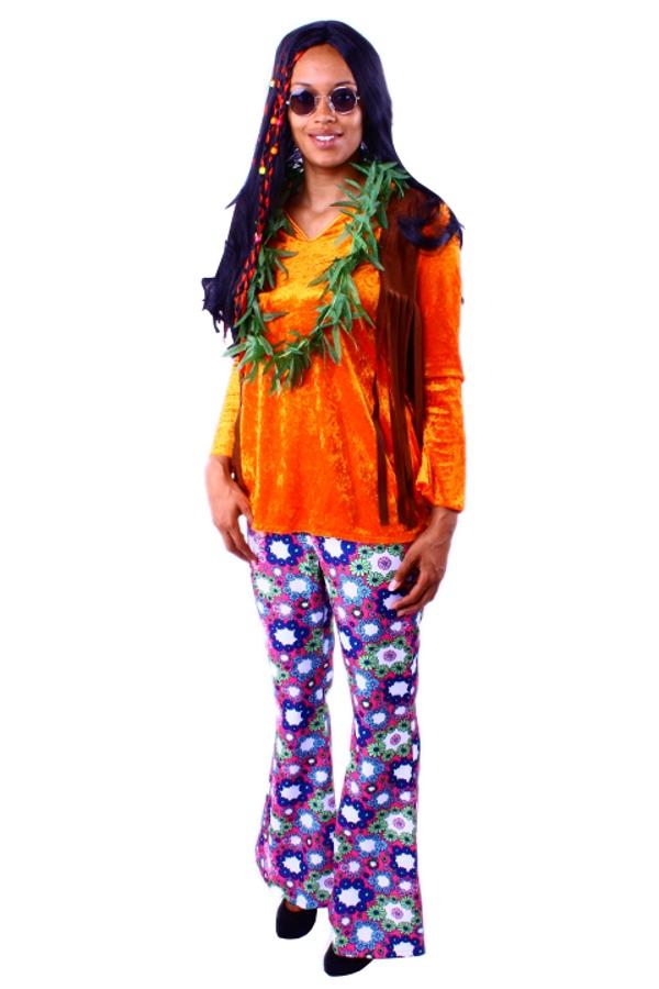 hippieoberteil orange hippie kost m damen damenkost m 60er. Black Bedroom Furniture Sets. Home Design Ideas