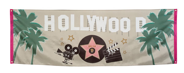 hollywood fahne themenparty dekoration party deko banner flagge 74 x 220 cm neu ebay. Black Bedroom Furniture Sets. Home Design Ideas