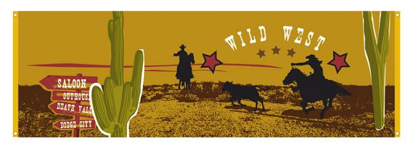 Wilder Westen Banner Deko Western Cowboy Indianer