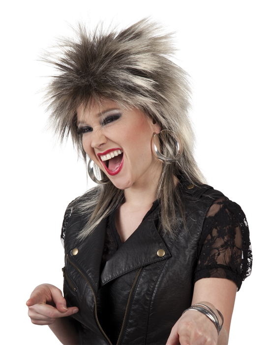 80er jahre rocker per cke damen blond braun rockerin per cken mottoparty 90er. Black Bedroom Furniture Sets. Home Design Ideas