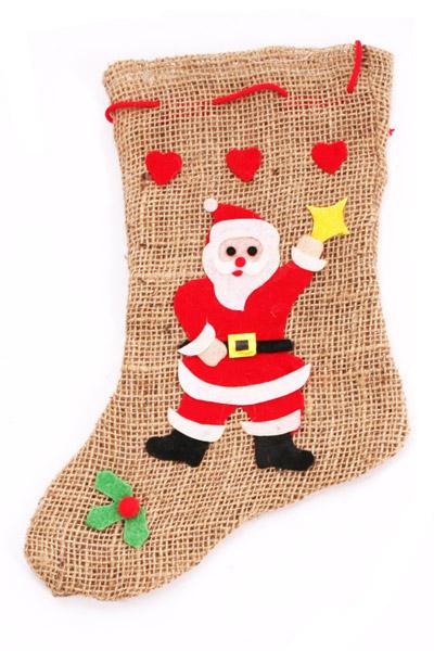 weihnachtsstrumpf kamin jutesack strumpf geschenke. Black Bedroom Furniture Sets. Home Design Ideas
